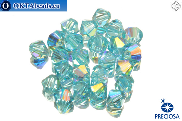 Preciosa Crystal Bicone - Aqua Bohemica AB 4mm, 24pc