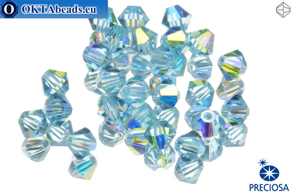 Preciosa Crystal Bicone - Aquamarine AB 4mm, 24pc