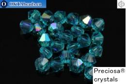 Preciosa Crystal Bicone - Blue Zirkon AB 3mm, 24pc