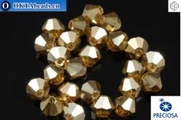 Preciosa Crystal Bicone - Crystal Golden Flare Full 4mm, 24pc 4PRcrys118