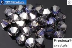 Прециоза Хрустальные Биконусы Crystal Heliotrope 4мм, 24шт