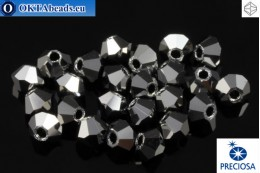 Preciosa Crystal Bicone - Jet Light Hematite Full 3mm, 24pc