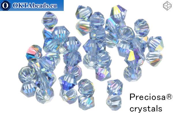 Прециоза Хрустальные Биконусы - Light Sapphire AB 4мм, 24шт