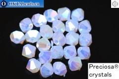 Прециоза Хрустальные Биконусы Light Sapphire Opal AB 2X 4мм, 24шт