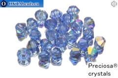 Preciosa Crystal Bicone - Sapphire AB 4mm, 24pc