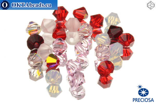 Preciosa Crystal Bicone - Strawberry Fields 4mm, 24pc