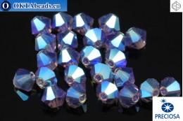 Preciosa Crystal Bicone - Tanzanite AB 2x 4mm, 24pc 4PRcrys117