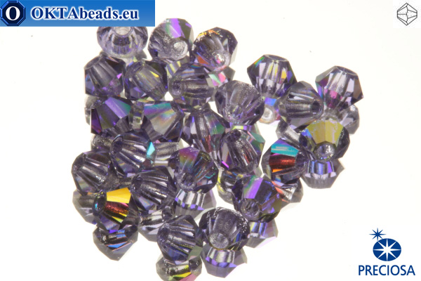 Preciosa Crystal Bicone - Tanzanite AB 3mm, 24pc