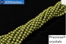 Preciosa crystal pearls Pearlescent Khaki 4mm, 1pc PRpearl-011