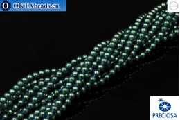 Preciosa crystal pearls Pearlescent Peacock Green 4mm, 1pc PRpearl-003