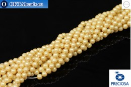 Preciosa crystal pearls Pearlescent Yellow 4mm, 1pc PRpearl-006