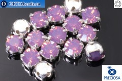 Sew on Preciosa MAXIMA chaton in set Amethyst Opal - Silver ss16/4mm, 15pc