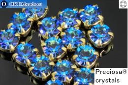 Sew on Preciosa MAXIMA chaton in set Bermuda Blue - Gold ss16/4mm, 15pc PR_chat_015