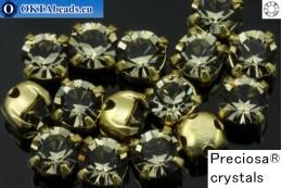 Sew on Preciosa MAXIMA chaton in set Black Diamond - Gold ss16/4mm, 15pc PR_chat_031