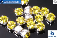 Sew on Preciosa MAXIMA chaton in set Citrine - Silver ss16/4mm, 15pc