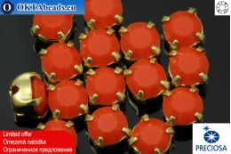 Sew on Preciosa MAXIMA chaton in set Coral - Gold ss16/4mm, 15pc PR_chat_027