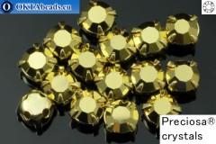 Našívací šaton Preciosa MAXIMA v kotlíku Crystal Aurum - Gold ss16/4mm, 15ks