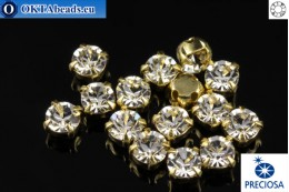 Sew on Preciosa MAXIMA chaton in set Crystal - Gold ss16/4mm, 15pc PR_chat_050