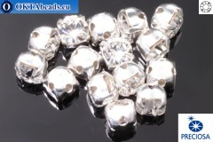 Sew on Preciosa MAXIMA chaton in set Crystal - Silver ss16/4mm, 15pc