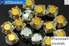 Sew on Preciosa MAXIMA chaton in set Crystal Sunrise - Silver ss16/4mm, 15pc PR_chat_024
