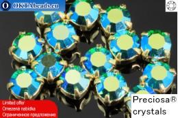 Sew on Preciosa MAXIMA chaton in set Emerald AB - Gold ss16/4mm, 15pc PR_chat_022