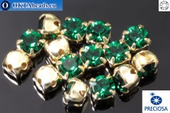 Sew on Preciosa MAXIMA chaton in set Emerald - Gold ss16/4mm, 15pc
