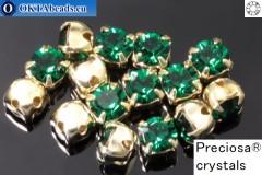 Našívací šaton Preciosa MAXIMA v kotlíku Emerald - Gold ss16/4mm, 15ks