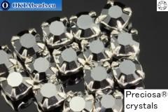 Пришивные шатоны Прециоза MAXIMA в цапах Jet Hematite - Silver ss16/4мм, 15шт
