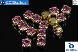 Sew on Preciosa MAXIMA chaton in set Light Amethyst - Gold ss16/4mm, 15pc PR_chat_051