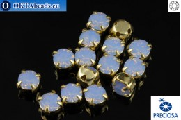 Sew on Preciosa MAXIMA chaton in set Light Sapphire Opal - Gold ss16/4mm, 15pc PR_chat_052