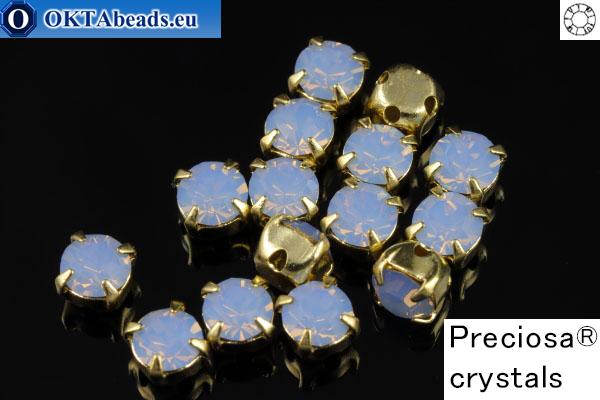 Пришивные шатоны Прециоза MAXIMA в цапах Light Sapphire Opal - Gold ss16/4мм, 15шт