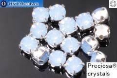 Našívací šaton Preciosa MAXIMA v kotlíku Light Sapphire Opal - Silver ss16/4mm, 15ks