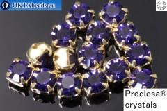 Našívací šaton Preciosa MAXIMA v kotlíku Purple Velvet - Gold ss16/4mm, 15ks