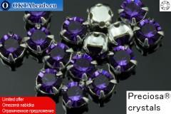 Našívací šaton Preciosa MAXIMA v kotlíku Purple Velvet - Silver ss16/4mm, 15ks