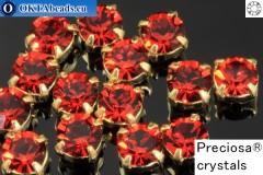 Пришивные шатоны Прециоза MAXIMA в цапах Red Velvet - Gold ss16/4мм, 15шт