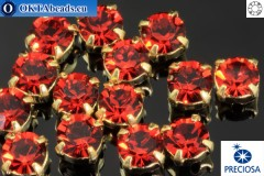 Sew on Preciosa MAXIMA chaton in set Red Velvet - Gold ss16/4mm, 15pc