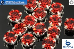 Пришивные шатоны Прециоза MAXIMA в цапах Red Velvet - Silver ss16/4мм, 15шт
