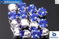 Sew on Preciosa MAXIMA chaton in set Sapphire - Silver ss16/4mm, 15pc