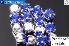 Našívací šaton Preciosa MAXIMA v kotlíku Sapphire - Silver ss16/4mm, 15ks