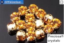 Пришивные шатоны Прециоза MAXIMA в цапах Topaz - Gold ss16/4мм, 15шт PR_chat_005