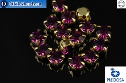 Sew on Preciosa OPTIMA chaton in set Amethyst - Gold ss16/4mm, 15pc PR_chat_068