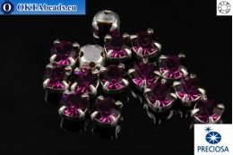 Sew on Preciosa OPTIMA chaton in set Amethyst - Silver ss16/4mm, 15pc PR_chat_084