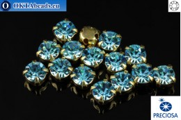 Sew on Preciosa OPTIMA chaton in set Aqua Bohemica - Gold ss16/4mm, 15pc PR_chat_063