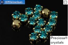 Našívací šaton Preciosa OPTIMA v kotlíku Blue Zircon - Gold ss16/4mm, 15ks PR_chat_066