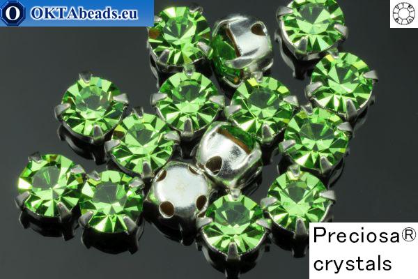(НЕТ В НАЛИЧИИ) Пришивные шатоны Прециоза OPTIMA в цапах Peridot - Silver ss16/4мм, 15шт