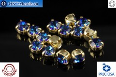 Пришивные шатоны Прециоза в цапах + COTOBE покрытие Bermuda Blue - Gold ss16/4мм, 15шт