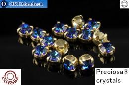 Пришивные шатоны Прециоза в цапах + COTOBE покрытие Bermuda Blue - Gold ss16/4мм, 15шт CT-PR-16-BBL-G