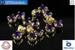 Sew on Preciosa chaton in set + COTOBE coating Heliotrope - Gold ss16/4mm, 15pc CT-PR-16-HEL-G