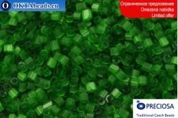 Прециоза чешская рубка шелк зеленая 10/0, ~50гр 2CR004