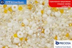 Preciosa český rokajl bílý mix 3-6-8-11-15/0, ~50g 2CR068